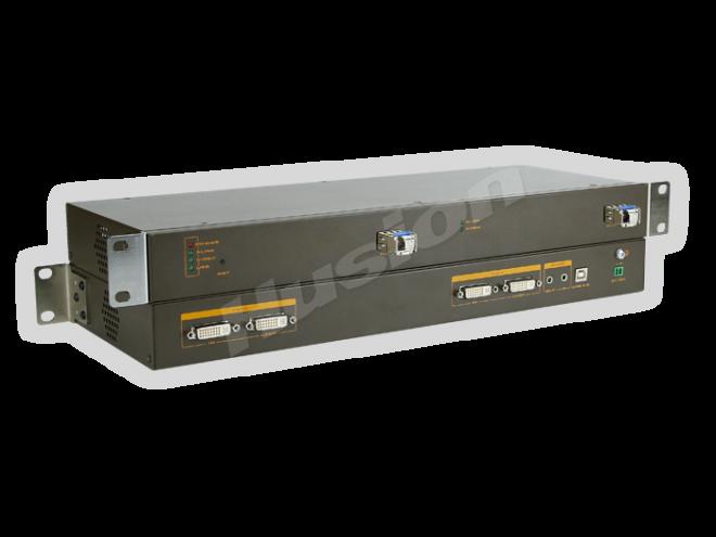 Husion HS-dMULF-F/TX-A-K 雙頭多格式 光纖 KVM 編碼器